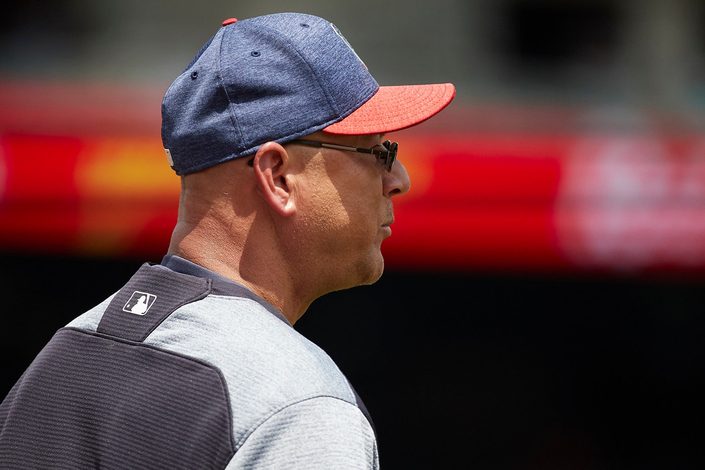 . Cleveland Indians manager Terry Francona (17) is seen during the fourth inning against the Detroit Tigers in the first baseball game of a doubleheader in Detroit, Saturday, July 1, 2017. (AP Photo/Rick Osentoski)