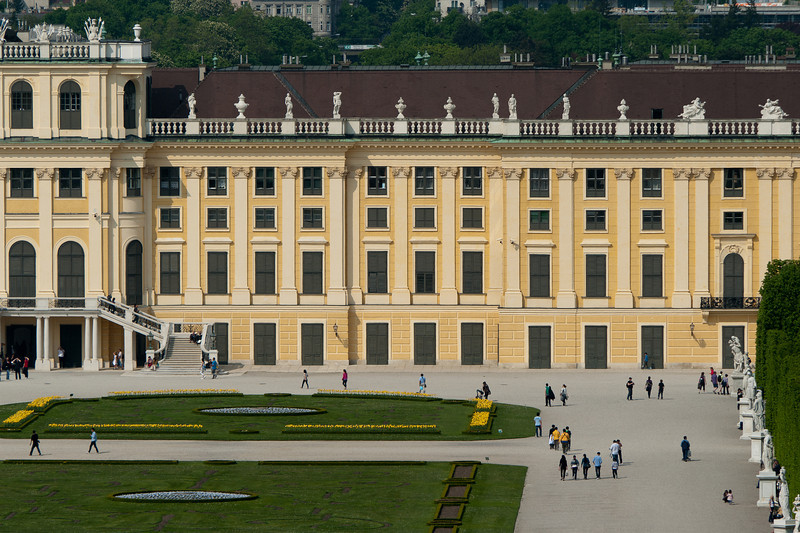 Tourists on grounds outside the Schonbrunn Palace - Vienna, Austria