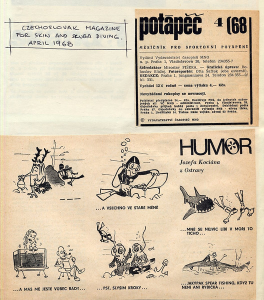My first cartoons, published in diver magazine, Czechoslovakia 1968