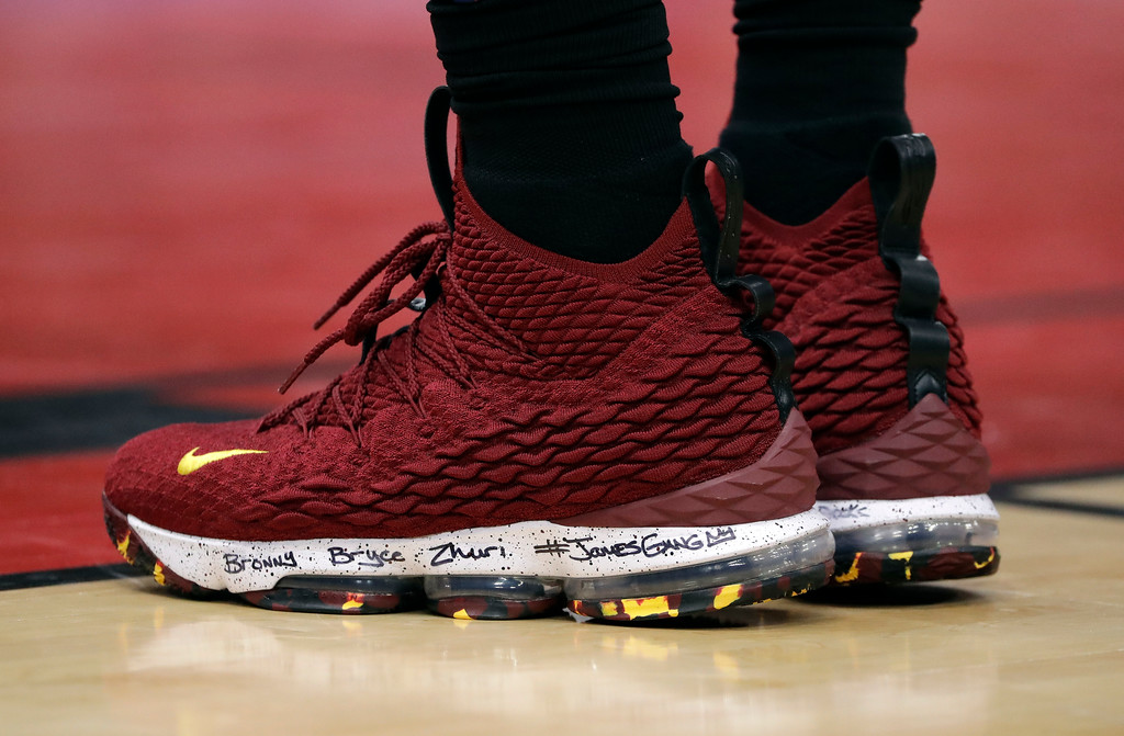 . The inscribed shoes of Cleveland Cavaliers forward LeBron James (23) are seen during the second half of an NBA basketball game against the Chicago Bulls, Saturday, March 17, 2018, in Chicago. The Cavaliers won114-109. (AP Photo/Nam Y. Huh)