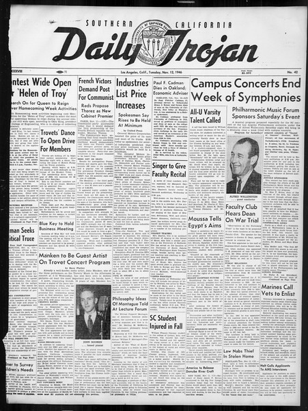 Daily Trojan, Vol. 38, No. 42, November 12, 1946