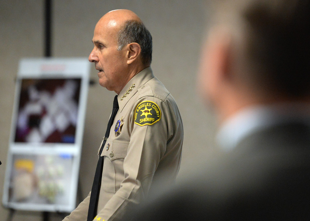 . Los Angeles County Sheriff Department, Sheriff Lee Baca speaks to the media during a press conference where Pasadena Police Officers along with Federal Agents with the San Gabriel Valley Safe Streets Task Force talk about a early morning arrests of multiple area gang members and associates during �Operation Rose Bud,� a multi-agency investigation targeting members of drug trafficking organizations operating in the San Gabriel Valley and Antelope Valley at Pasadena Police Headquarters in Pasadena, Calif., on Thursday, Dec. 12, 2013.   (Keith Birmingham Pasadena Star-News)