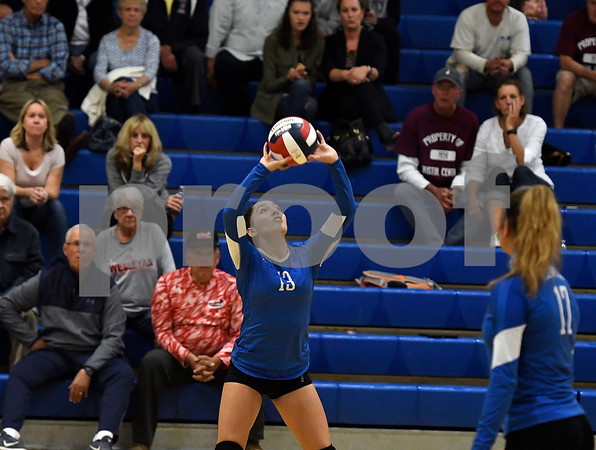 10/19/2017 Mike Orazzi   Staff Plainville's Isabel Lozefski (13) during Thursday's volleyball match in Plainville.