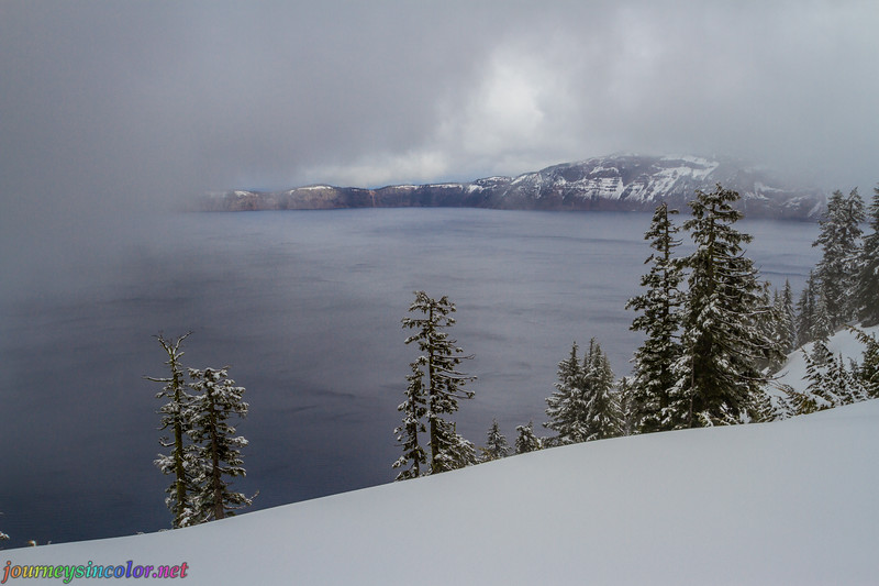 Crater Lake on a Snowy Winter Day