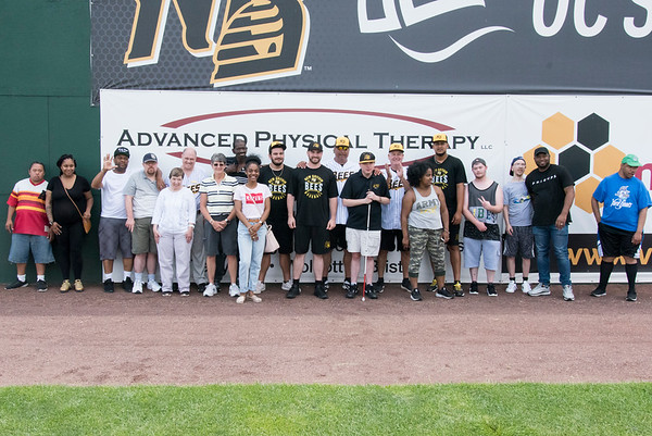 07/02/19 Wesley Bunnell | Staff The New Britain Bees welcomed group home members to New Britain Stadium as part of the Beautiful Lives Project on Tuesday July 2, 2019.Bees players and coaches played wiffle ball games on the outfield grass with the participants.