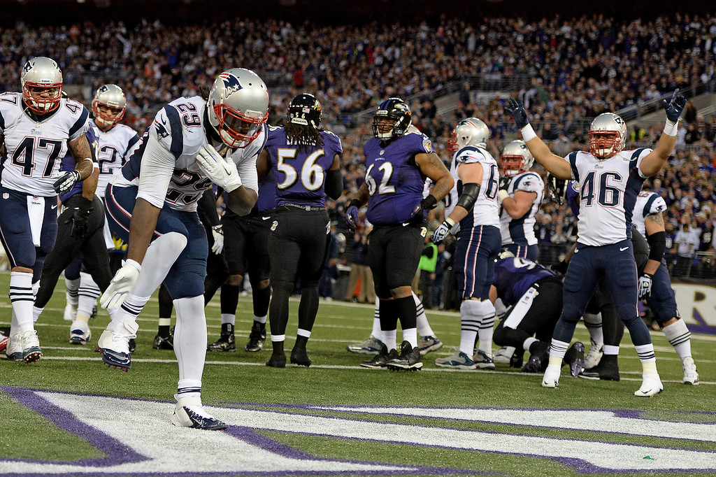 . Running back LeGarrette Blount #29 of the New England Patriots celebrates after scoring a touchdown against the Baltimore Ravens in the first quarter at M&T Bank Stadium on December 22, 2013 in Baltimore, Maryland. (Photo by Patrick Smith/Getty Images)