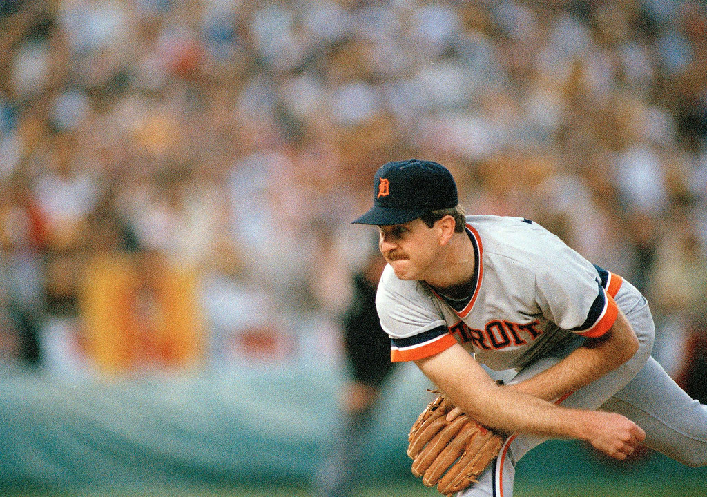 . Detroit Tigers\' pitcher Dan Petry in action against the San Diego Padres in Game 2 of the 1984 World Series at Jack Murphy Stadium in San Diego, Oct. 10, 1984. San Diego won 5-3. (AP Photo)
