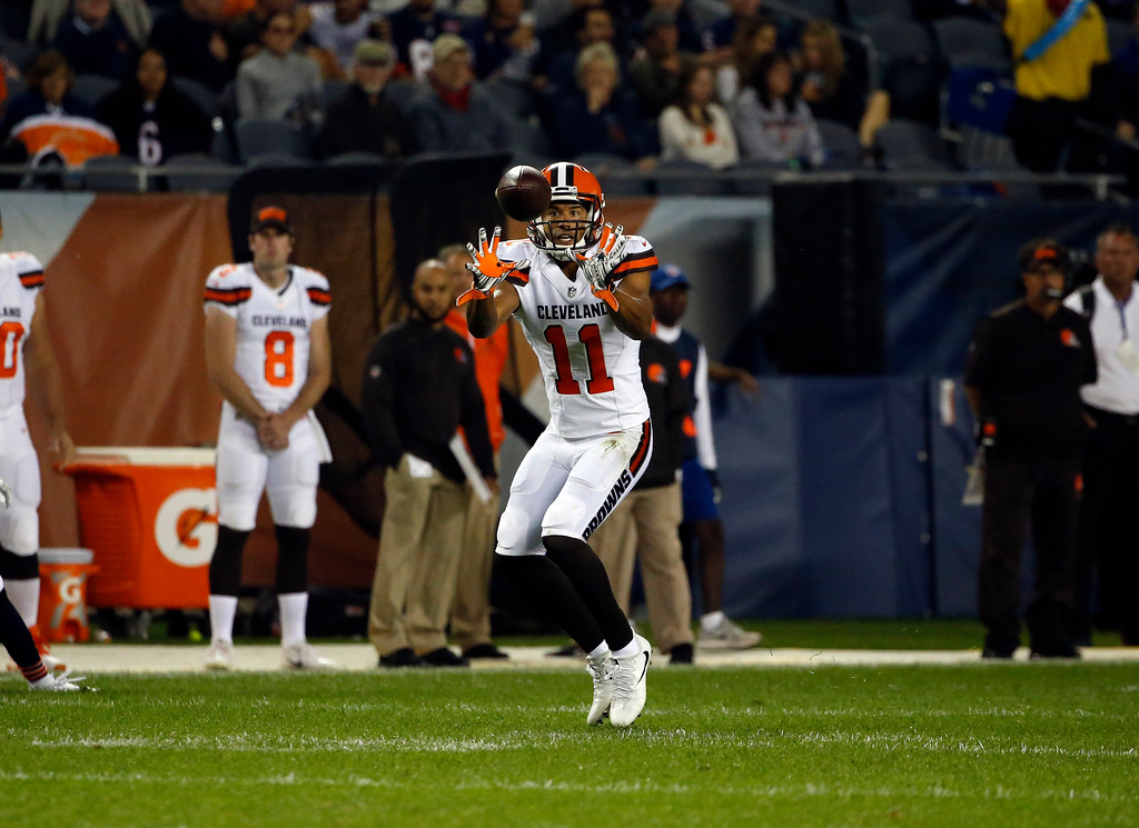 . Cleveland Browns wide receiver Jordan Leslie (11) makes a catch during the first half of an NFL preseason football game against the Chicago Bears, Thursday, Aug. 31, 2017, in Chicago. (AP Photo/Nam Y. Huh)