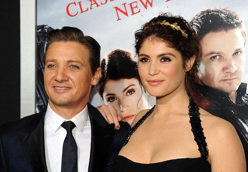""". Actors Jeremy Renner and Gemma Arterton arrive for the Los Angeles premiere of Paramount  Pictures\' \""""Hansel And Gretel Witch Hunters\"""" at TCL Chinese Theatre on January 24, 2013 in Hollywood, California.  (Photo by Kevin Winter/Getty Images)"""