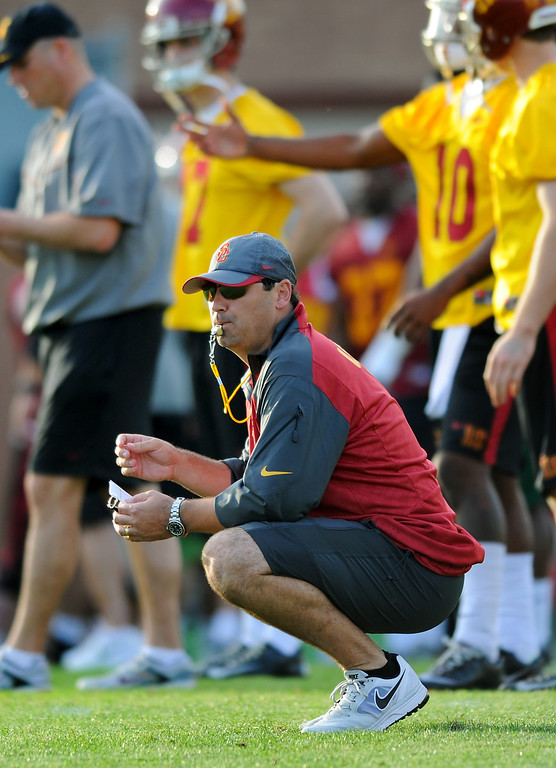 . USC head coach Steve Sarkisian watches the action at spring practice, Tuesday, March 11, 2014, at USC. (Photo by Michael Owen Baker/L.A. Daily News)