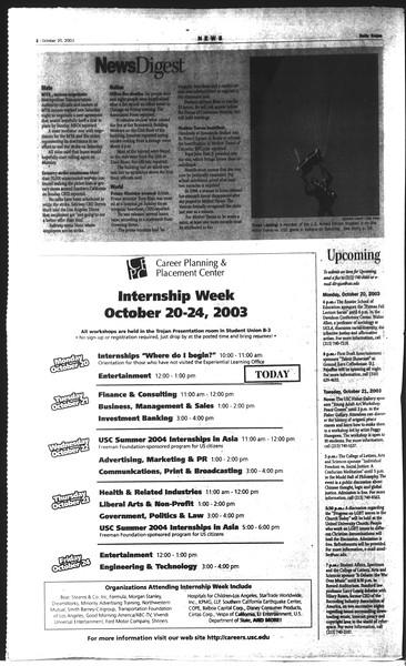 Daily Trojan, Vol. 150, No. 38, October 20, 2003