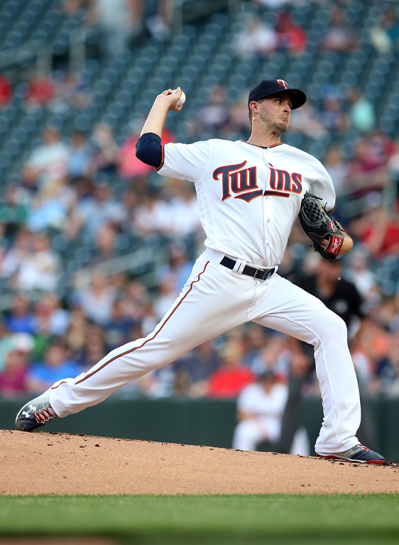 . Minnesota Twins pitcher Jake Odorizzi throws against the Cleveland Indians in the first inning of a baseball game Thursday, May 31, 2018, in Minneapolis. (AP Photo/Jim Mone)