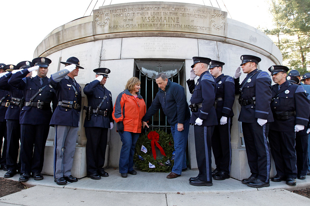 . Maine Gov. Paul LePage and his wife Ann lay a wreath during a ceremony at USS Maine Mast during holiday wreaths laying at Arlington National Cemetery in Arlington, Va. on Saturday, Dec. 15, 2012, during Wreaths Across America Day. Wreaths Across America was started in 1992 at Arlington National Cemetery by Maine businessman Morrill Worcester and has expanded to hundreds of veterans\' cemeteries and other locations in all 50 states and beyond.  (AP Photo/Jose Luis Magana)