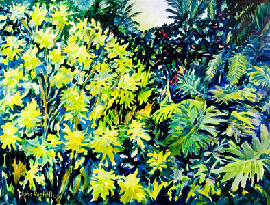 "©John Rachell Title:Garden Series, May 10, 2005 Image Size: 36""d X 48""w Dated: 2005 Medium & Support: Oil paint on canvas Signed: LL Signature"