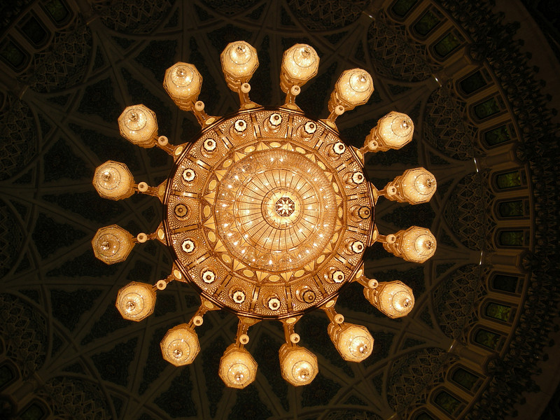 said to be the  worlds' largest crystal chandelier, Grand Mosque, Muscat