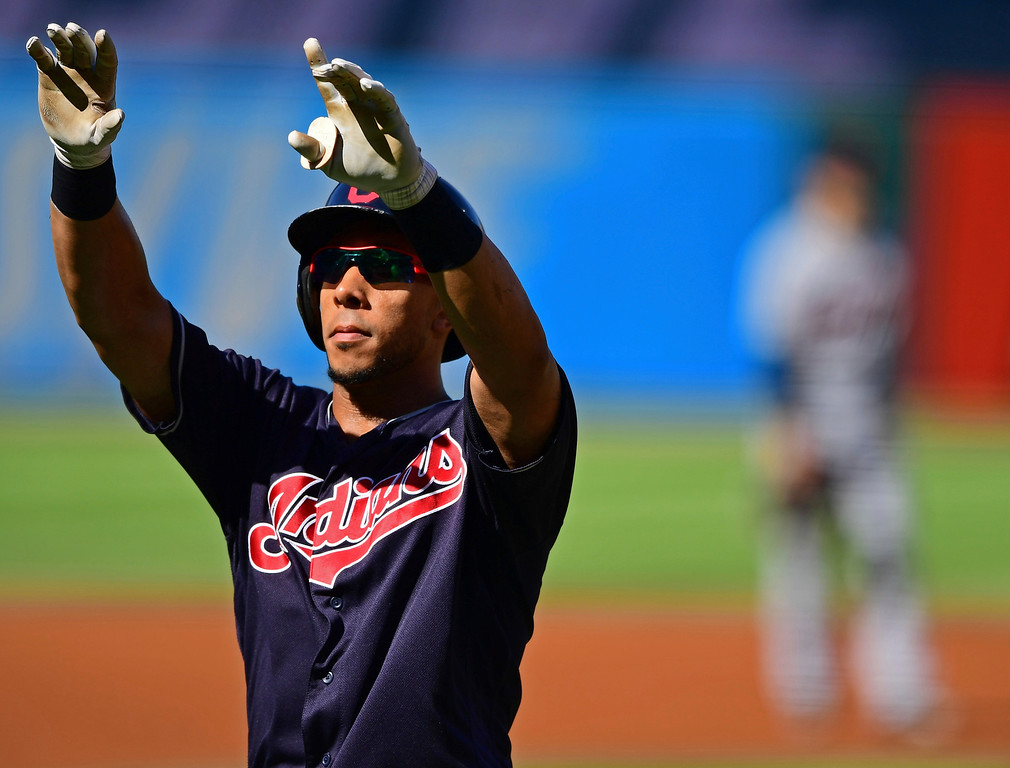 . Cleveland Indians\' Michael Brantley celebrates after hitting a solo home run in the first inning of a baseball game against the Detroit Tigers, Saturday, Sept.15, 2018, in Cleveland. (AP Photo/David Dermer)