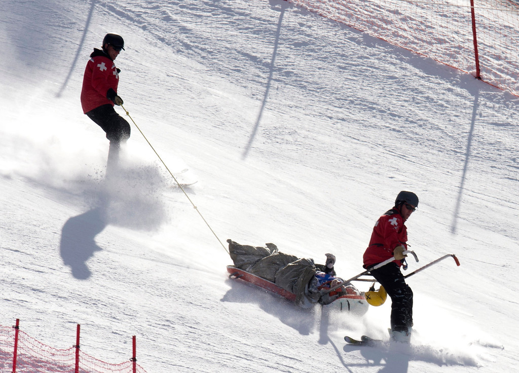 . Max Franz of Austria in taken from the hill in a sled after crashing in the FIS Alpine World Cup men\'s Super G on December 1, 2012 in Beaver Creek, Colorado.    DON EMMERT/AFP/Getty Images