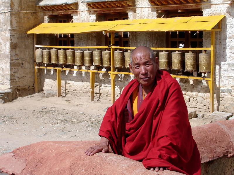 monk at Ganden Monastery, Tibet