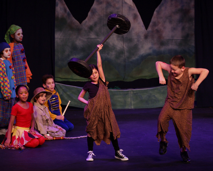 Jack & the Beanstalk, 19 February 2010: Paige Garrett as the Strong Lady, Lucas Felix as the Strong Man, Romel Richards & as the Clowns, Mykaela Branch as the Fire Eater, Milo Leahy-Miller as the Lion Tamer, and Derek Jenkins as the One Man Band.