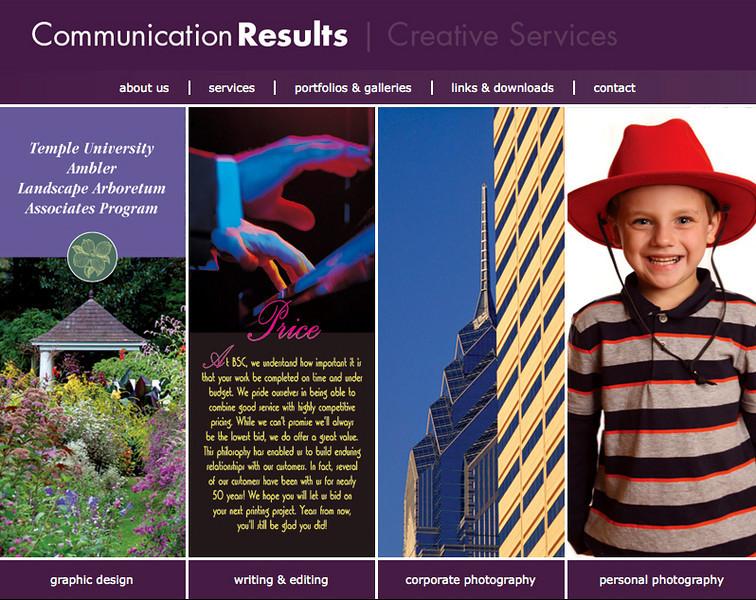 Website design for Communication Results
