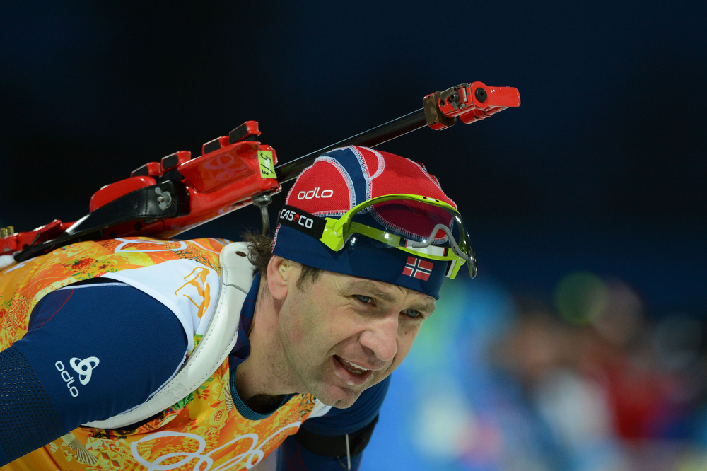 . Norway\'s Ole Einar Bjoerndalen competes in the Men\'s Biathlon 4x7.5 km Relay at the Laura Cross-Country Ski and Biathlon Center during the Sochi Winter Olympics on February 22, 2014, in Rosa Khutor, near Sochi.  (KIRILL KUDRYAVTSEV/AFP/Getty Images)