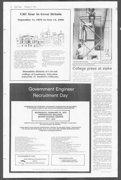 Daily Trojan, Vol. 76, No. 10, February 21, 1979