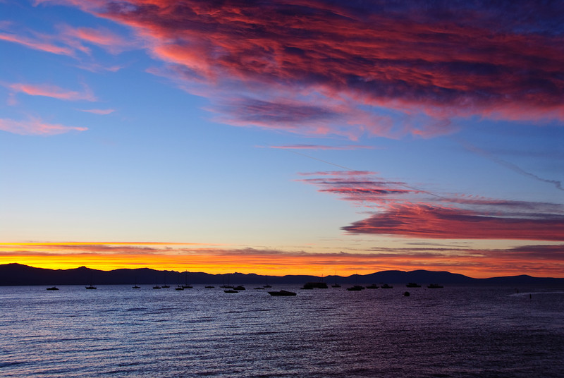 Sunset over Lake Tahoe.  There were not a lot of clouds in the sky, but I got most of them in this picture.
