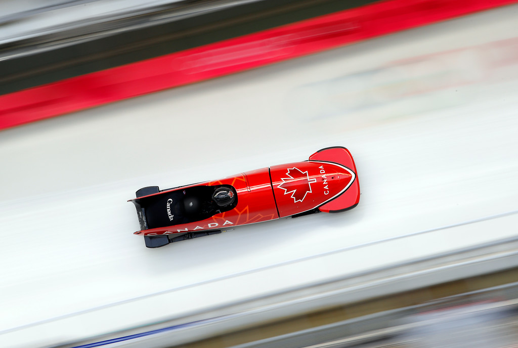 . Driver Christopher Spring and Neville Wright of Canada take a practice run during training for the two-man bobsled at the 2018 Winter Olympics in Pyeongchang, South Korea, Thursday, Feb. 15, 2018. (AP Photo/Andy Wong)