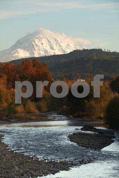 Mt. Rainier and the Puyallup River near Orting, WA.
