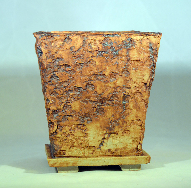 Iron oxide on lava impressed pot 4.25 x 4.25 x 5 sold