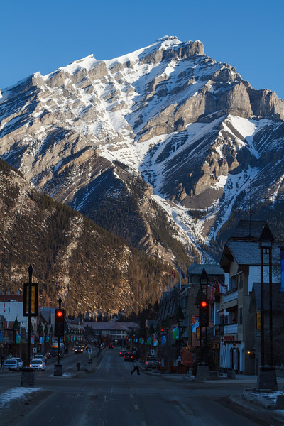 Downtown Banff, Alberta Canada with giant mountain in the background