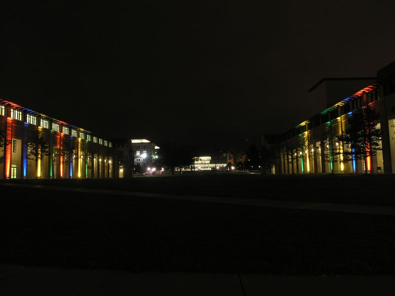A view looking down the cut; Hunt library is at the far end