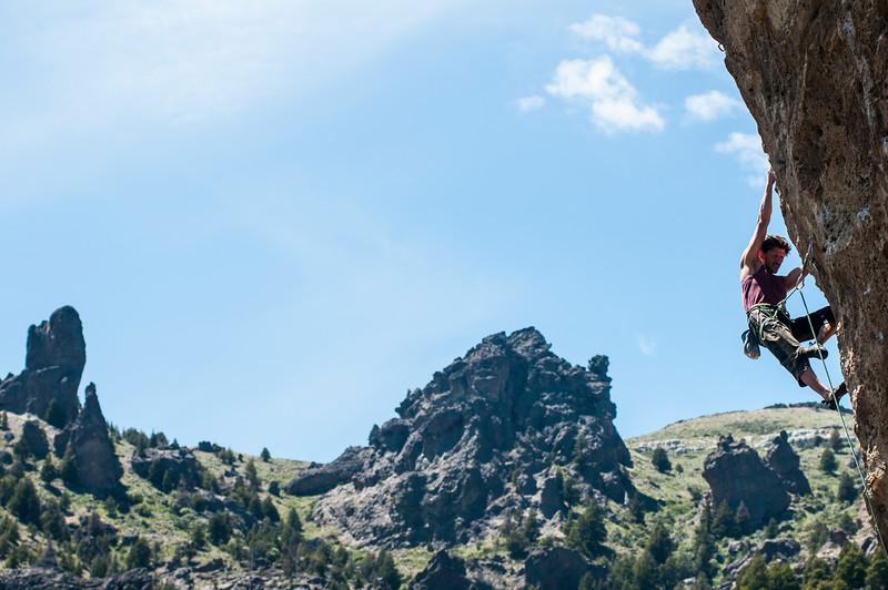 Romain Gendey climbing Directa Challenger 8b+, 5.14a, Valle Encantado, Argentina.