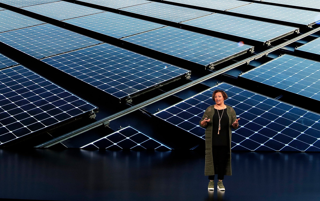 . Lisa Jackson, Vice President of Environment, Policy, and Social Initiatives speaks at the Steve Jobs Theater during an event to announce new products Wednesday, Sept. 12, 2018, in Cupertino, Calif. (AP Photo/Marcio Jose Sanchez)