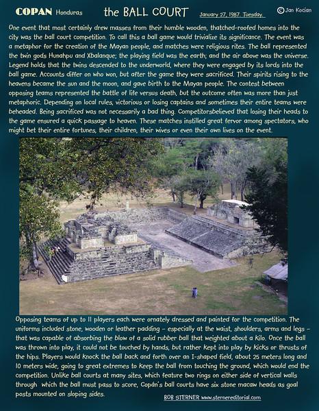 The Ball Court. Copan ruins, Honduras. February 27, 1987