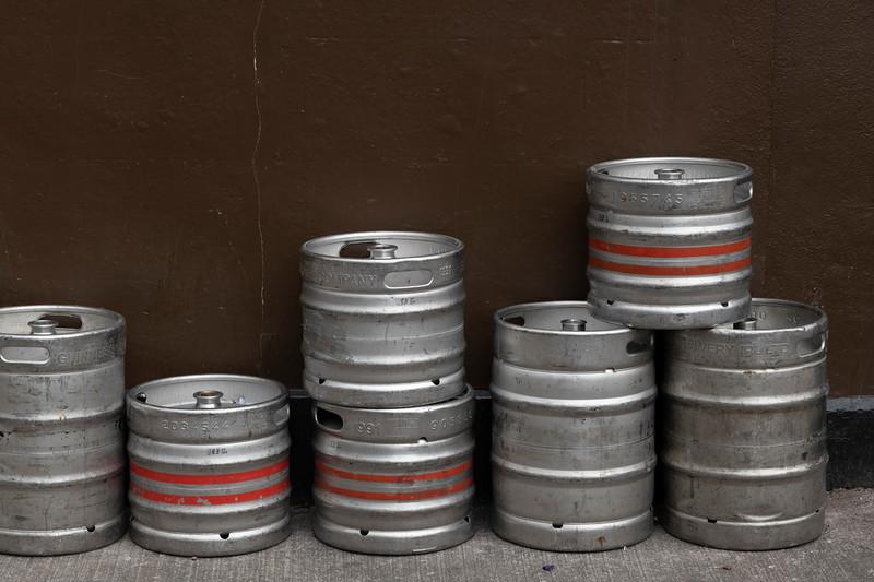 Row of beer kegs against pub wall, City of Cork, County Cork, Ireland