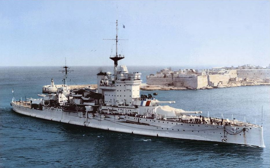 Warspite entering Malta in 1932.