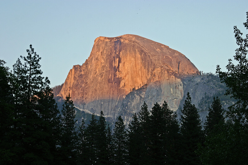 Half Dome is a granite dome in Yosemite National Park, located at the eastern end of Yosemite Valley — possibly Yosemite's most familiar sight. The granite crest rises more than 4,737 ft (1,444 m) above the valley floor.
