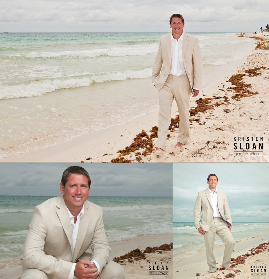 playa del carmen beach wedding groom
