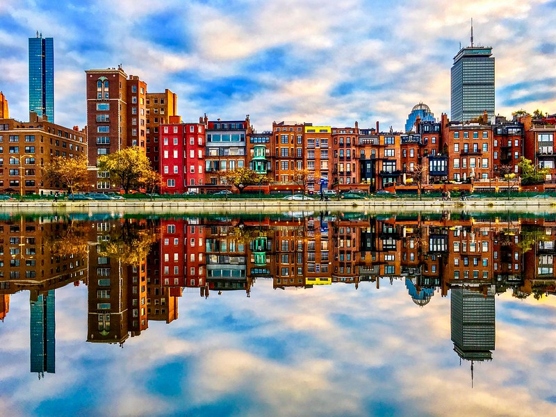 Boston Back Bay Brownstones Reflected in Esplanade Lagoon