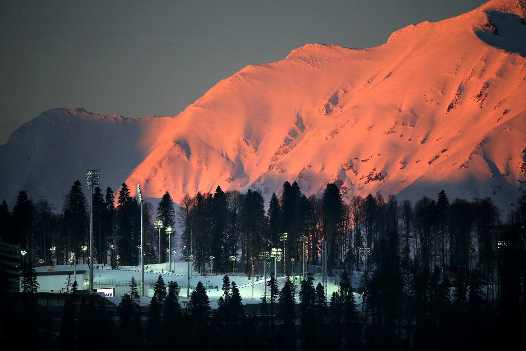 . Laura Cross-country Ski & Biathlon Center of the Sochi 2014 Winter Olympics is seen during sunset on Wednesday, Feb. 5, 2014, in Krasnaya Polyana, Russia. (AP Photo/Jae C. Hong)