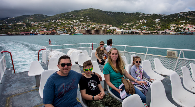 On the Native Son ferry from Charlotte Amalie, St. Thomas to Road Town, Tortola.  Linda was downstairs while the rest of us decided to sit in the open upstairs.  We braved a few small sprinkles while having a great view.