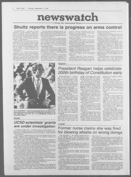 Daily Trojan, Vol. 105, No. 11, September 17, 1987