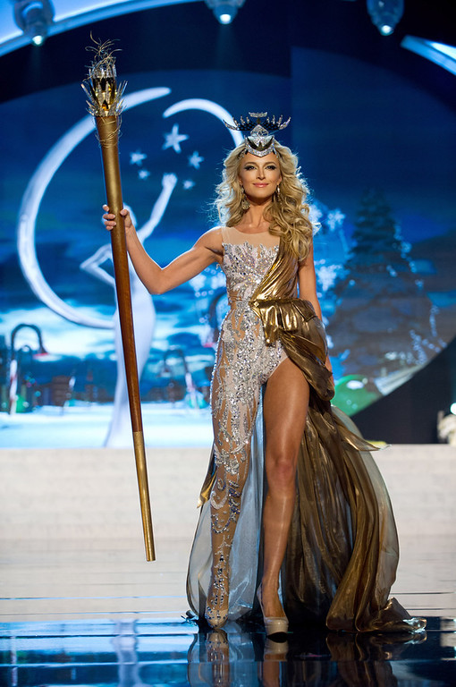 . Miss South Africa 2012, Melinda Bam, performs onstage at the 2012 Miss Universe National Costume Show on Friday, Dec. 14, 2012 at PH Live in Las Vegas, Nevada. The 89 Miss Universe Contestants will compete for the Diamond Nexus Crown on Dec. 19, 2012. (AP Photo/Miss Universe Organization L.P., LLLP)