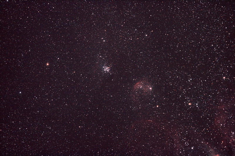 NGC3293 The Little Jewel Box and nebula IC2599 - 13/3/2011 (Processed stack)