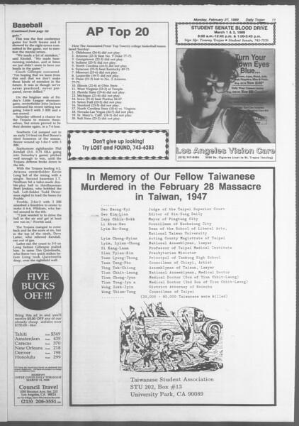 Daily Trojan, Vol. 108, No. 30, February 27, 1989