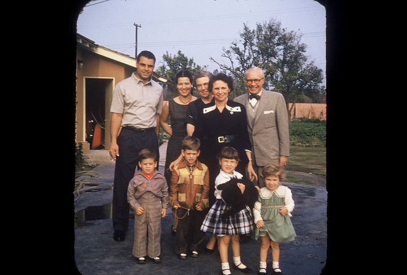 The Weismans in Anaheim. Dick, Dorothy, Eda, Sam and his wife, Mike, Paul, Laura and Janet.