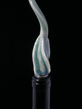 Wine Bottle Stopper - Screwie -  ceramic and stainless steel - one of a kind