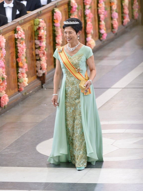 . Princess Takamado of Japan arrives to attend the wedding of Prince Carl Philip and Sofia Hellqvist at the Royal Chapel in Stockholm, Sweden, Saturday June 13, 2015.  Jonas Ekstromer/TT News Agency via AP)