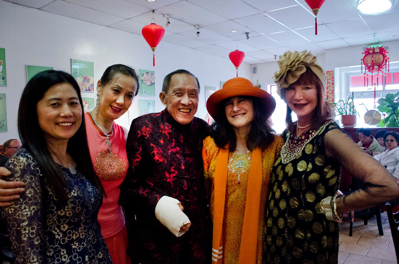 Henry Him, center with Sheila Ash on right at his 80th birthday party at Dong Bei Mama Restaurant